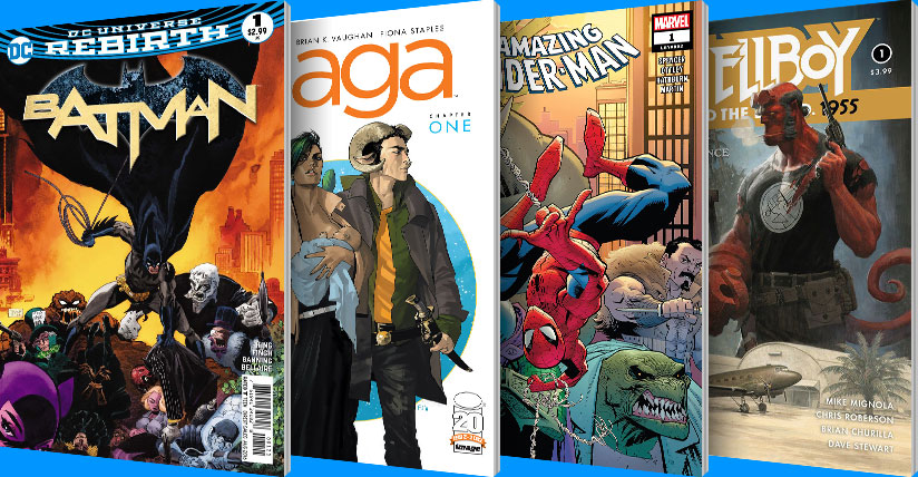 Batman, Saga, Spider-Man and Hellboy comics
